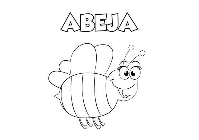 Dibujos De Insectos Para Colorear Para Ninos: Dibujo De Abeja Para Imprimir Y Colorear