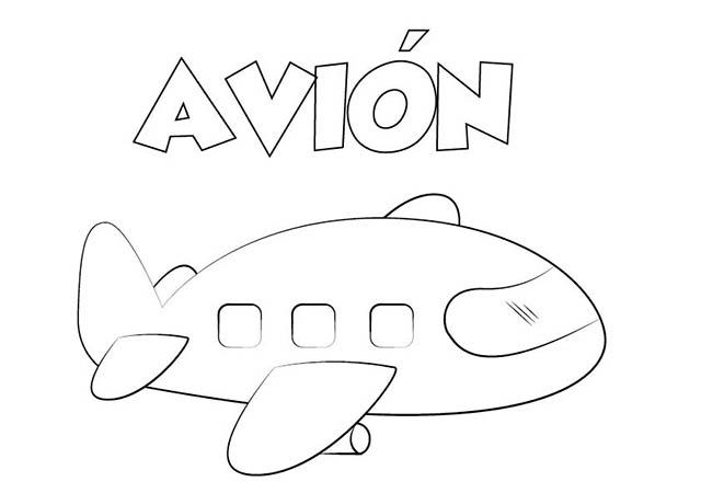 Dibujo de Avión para Imprimir y Colorear