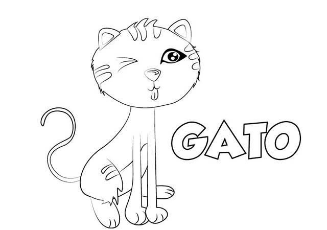 Dibujo Gato para Imprimir y Colorear