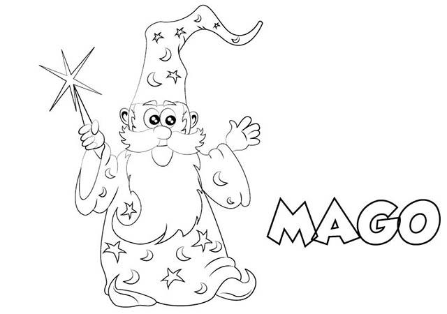 Dibujo colorear mago
