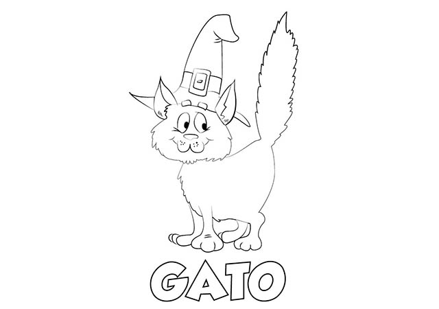 Dibujo Gato Halloween Para Imprimir Y Colorear