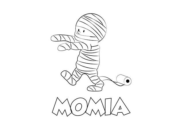dibujo colorear momia