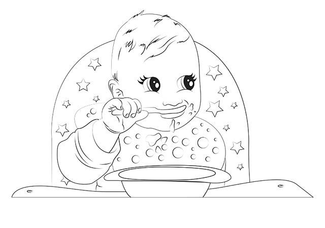 colorear bebé comiendo